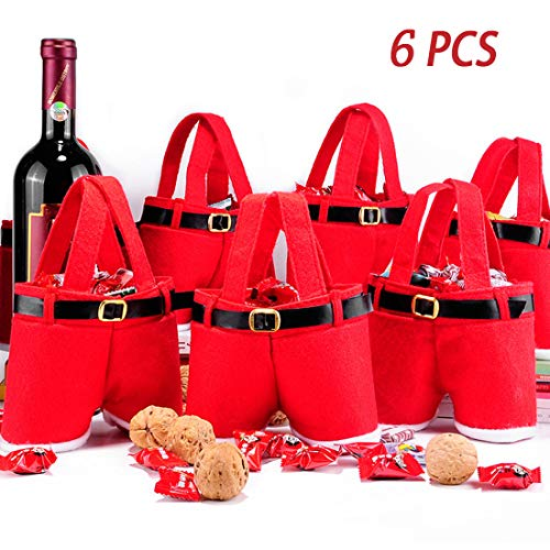 MSQ 6PCS Christmas Decorations Gift Bags Candy Bags Santa Pants Style Lovely Treat Bags for Children Best for Wedding Holiday New Year Small Size