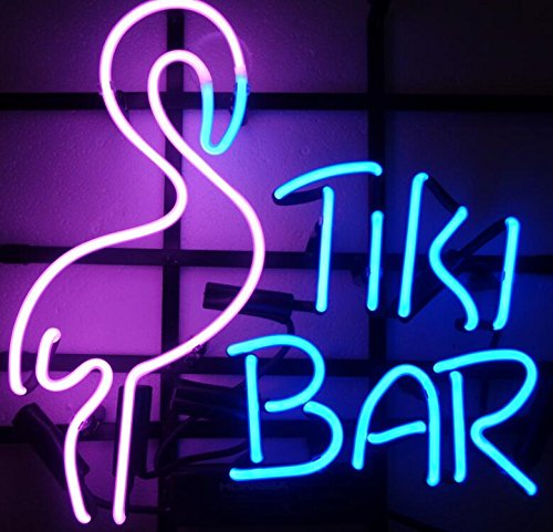 Mirsne Tiki Bar Glass Tube Rock Neon Sign Sculpture Blue Bar Neon Light Sign 35cm x 14cm x 14cm Neon Lamp with Plastic (Bar Neon Sculpture)