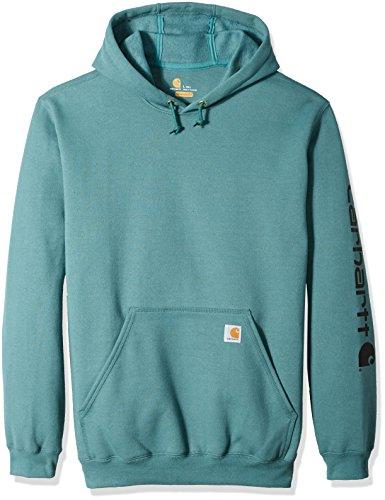 Carhartt Mens Big & Tall Midweight Signature Sleeve Logo Hooded Sweatshirt