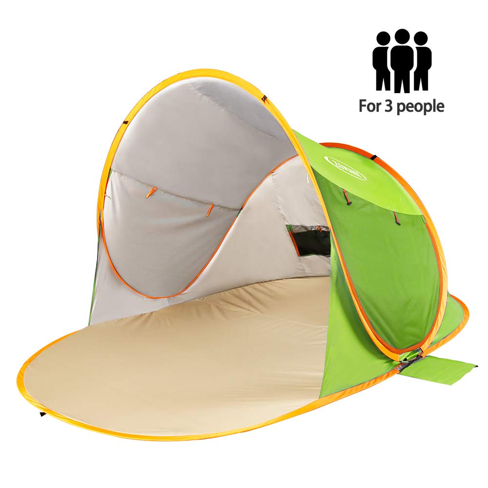 ZOMAKE Pop Up Beach Tent Sun Shelters X-Large for 3-4 Person, Portable Sun Shade Pop Up Canopy for Baby & Family with UPF 50+ UV Protection(Green) by ZOMAKE