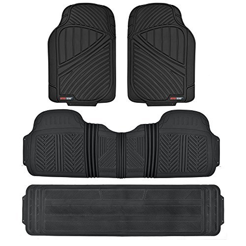 Motor Trend MT-773-801-BK 3 Rows FlexTough Series Rubber Floor Mats & Liners for Car SUV Van-Heavy Duty Full Interior-Black (Ford Explorer Carpet Kit)