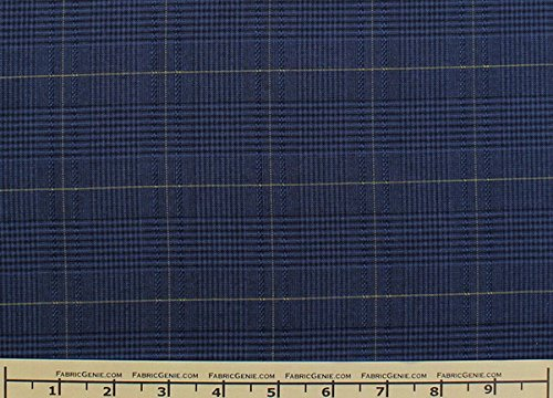 Glen Plaid Plaid Suiting Fabric, Stretch Suiting Fabric-NAVY/MUSTARD - 5 Yards Bolt (Glen Fabric Plaid)