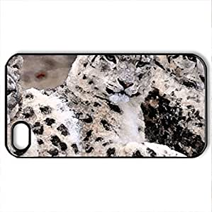 Anatolian Leopards - Case Cover for iPhone 4 and 4s (Cats Series, Watercolor style, Black)