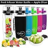 YOOHA Fruit Infuser Water Bottle, Leak-Proof, Flip-Top, Dual Hand Grips, BPA Free Infusion Sport Water Bottles, with a Fruit Slicer and Cutter. (Bottle+Apple Slicer, Black')