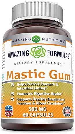 Amazing Formulas Mastic Gum 500 Mg 60 Capsules (Non-GMO) - Supports Gastrointestinal Health, Digestive Function, Immune Function and Oral Health - an All-Natural Remedy for Occasional Heartburn and