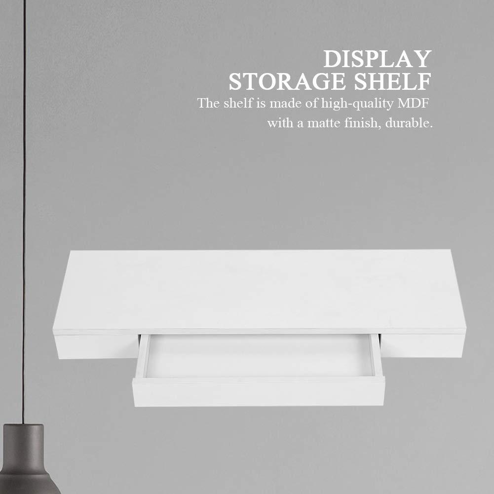 Ripiano Portaoggetti con 1 Cassetti MDF Bianco Decorazioni per la Casa 48 x 25 x 8 cm Greensen MDF Mensola da Muro