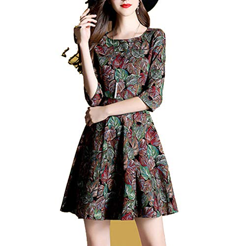 HaHapo Autumn Clothing Female 2018 New Cover Belly Dress Tibetan Meat Foreign Style Fem ()