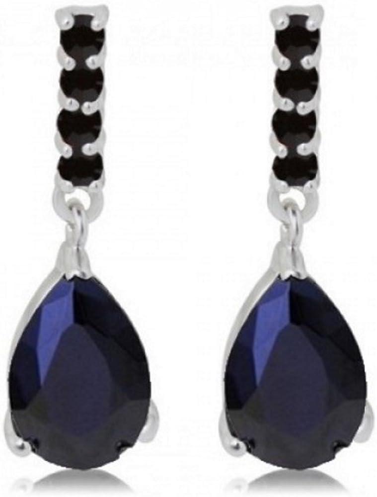 Lágrimas Pendientes con Negro Cristales austríacos de Zirconia 18k Chapado en oro blanco para mujer
