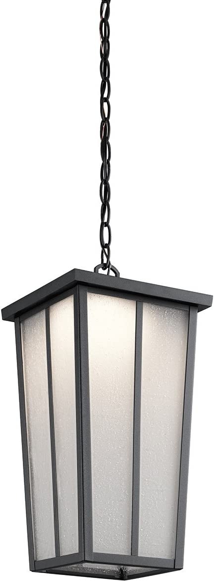 Kichler 49626BKTLED Amber Valley Outdoor Pendant, 1 Light LED 17 Watts, Textured Black
