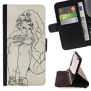 - artist drawing sketch painting woman - - Prima caja de la PU billetera de cuero con ranuras para tarjetas, efectivo desmontable correa para l Funny HouseFOR Samsung Galaxy S4 Mini i9190