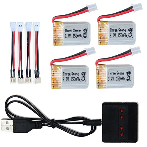 3.7v 150mah Lipo Battery with X4 Battery Charger for Eachine E010 JJRC H36 H20 GoolRC T36 Mini Realacc H36 Furibee...