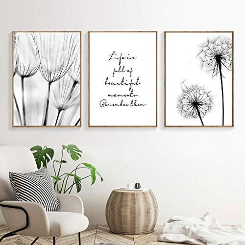 Cuadros en blanco y negro Pintura de lienzo de pintura de lienzo de diente de leon Impresion del arte Nordic Dandelion Poster Arte de la pared Dormitorio Sin marco