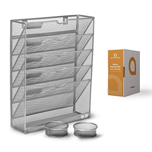 - Wall Mounted File Holder - Silver Mesh - 5 Tray Compartments - Includes 2 Free Matching Paperclip Pots - Hanging Mail Organizer - Letter, Literature, Document, Magazine and Folder Sorter by Amarcado