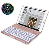 iPad 9.7 Keyboard (2018/2017) Case, Durwyn Backlight 7 Colors iPad Keyboard for iPad(6th Gen) - iPad(5th Gen) - iPad Air 1 Keyboard Case, Back Hard Folio Case Auto Sleep/Wake (Rose Goid)