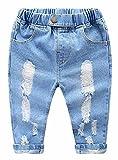 MMWORM Boys Ripped Denim Jeans Pants Elastic Waist Trousers for Baby Boys Girls