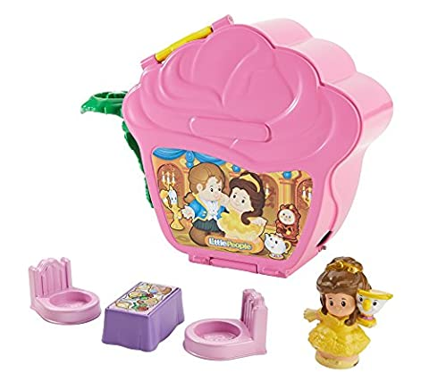 Fisher-Price Girls Little People Disney Princess Belle's Fold 'N Go Rose Toy (Belle And The Beast Little People)