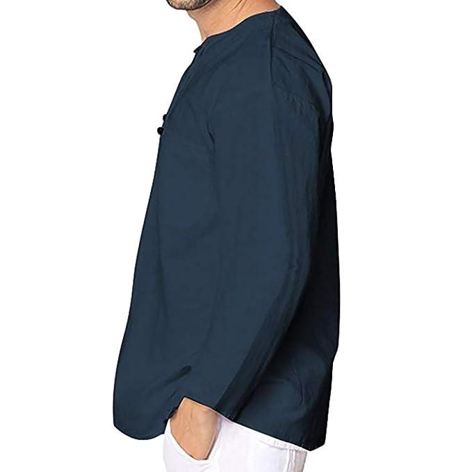 Yvelands Ofertas de Ropa de Hombre, Otoño Invierno Casual de Lino de Manga Larga de los Hombres de la Camiseta de Manga Larga Blusa Superior: Amazon.es: ...