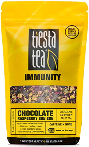 Raspberry Tea Chocolate - Tiesta Tea Chocolate Raspberry Bon Bon Chocolate Raspberry Fruit Tea, 30 Servings, 1.8 Ounce Pouch - Caffeine Free, Loose Leaf Herbal Tea, Immunity Blend, Non-GMO