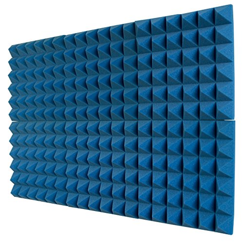 "6 Pack - Ice Blue Acoustic Foam Sound Absorption Pyramid Studio Treatment Wall Panels, 2"" X 12"" X 12"""