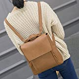 DDLBiz Women Girl Leather Rucksack Shoulder Bookbags School Bag Satchel Travel Backpack (Khaki)