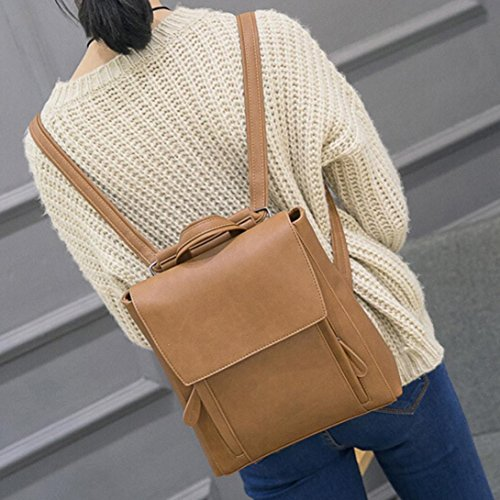 DDLBiz Women Girl Leather Rucksack Shoulder Bookbags School Bag Satchel Travel Backpack (Khaki) by DDLBiz