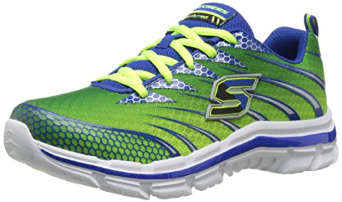 Skechers Kids Nitrate Sneaker,Lime/Blue,4.5 M US Big Kid