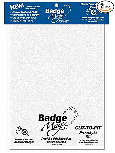 Badge Magic Cut to Fit Freestyle Patch Adhesive Kit - 2 Pack Removable Adhesive Fabric