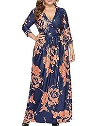 f64a03519c4a Womens Floral Maxi Dress V-Neck Wrap Plus Size Long Dresses