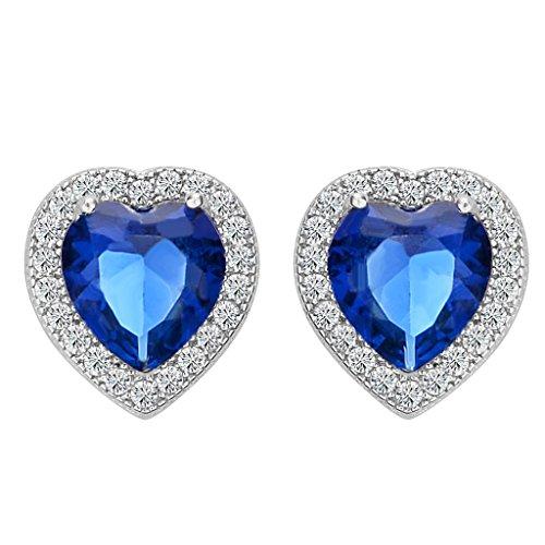 BriLove Women 925 Sterling Silver Heart Stud Earrings Wedding Bride Love Halo Austrian Crystal Earrings Sapphire Color September - Austrian Brilliant Earrings Crystal