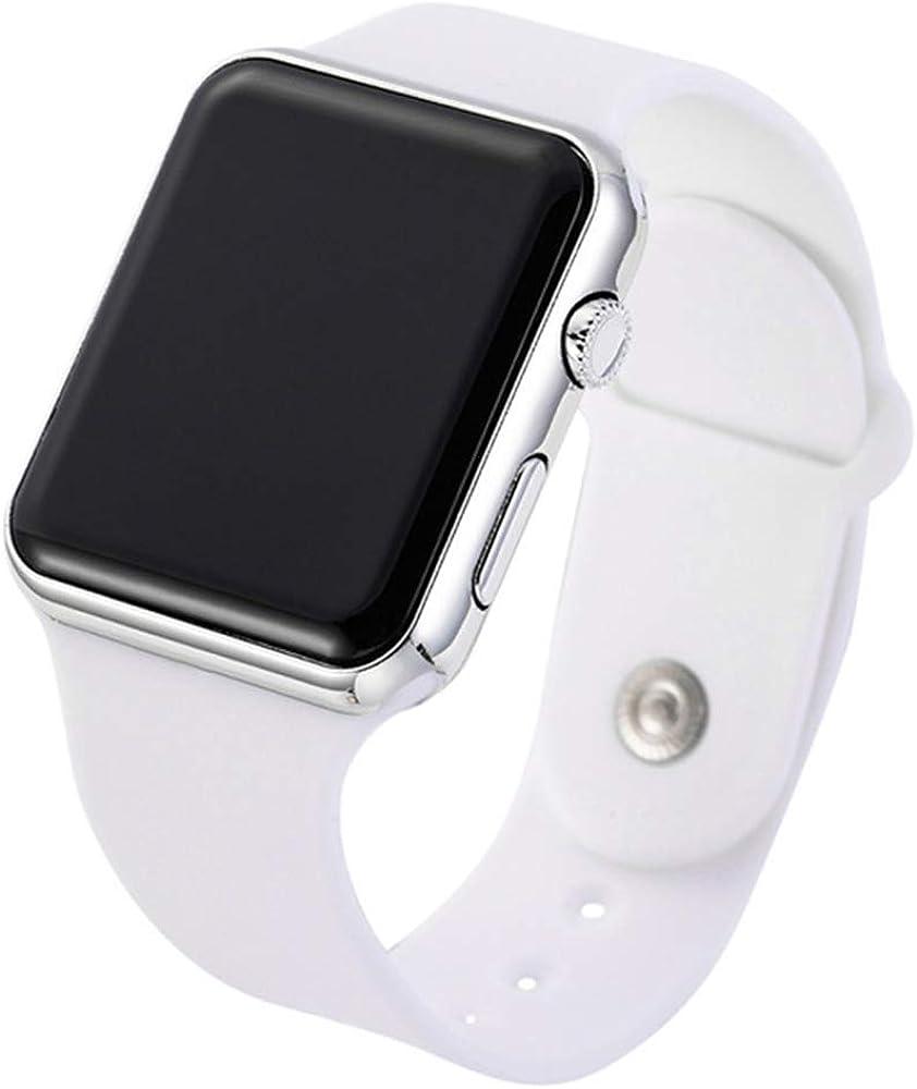 RRWL Reloj LED Deportivo y de Ocio para Mujer Reloj Digital Unisex Reloj de Pulsera de Silicona para Parejas Regalos navideñosBlanco Plata