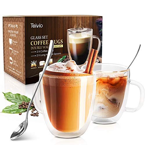 - Coffee Mugs by Teivio - Double Wall Insulated Glasses with Handle and Long Spoons- 12.5 Ounces, Set of 2