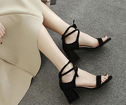 zapatos de gamuza con tacones gruesos redonda hueca sandalias abiertas Sra. Black