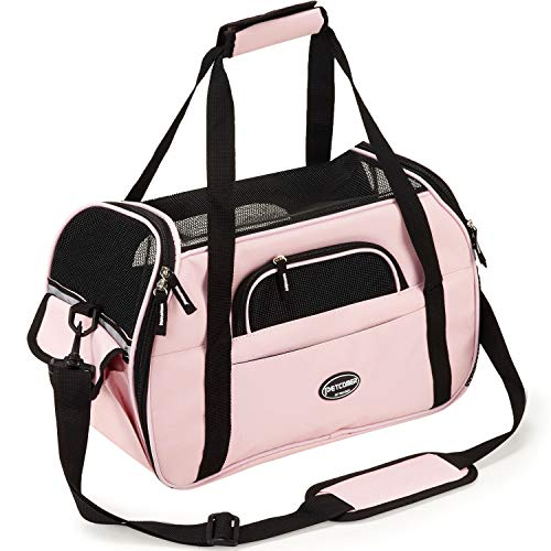 Pettom Soft-Sided Pet Carrier Dogs Cats Travel Bag Tote Airline Approved Under Seat – Pink M