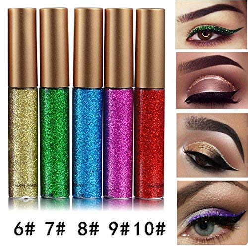 Coosa Glitter Liquid Eyeliner 5PCS Long Lasting Waterproof Sparkling Eyeliner Eye Shadow Pen – 5PCS-2 … ()