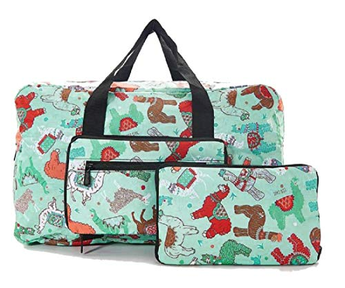 (Eco Chic Cabin Approved 30 Litre Foldable Holdall (Llama Turquoise))