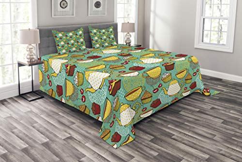 Lunarable Kitchen Bedspread Set King Size, Funky Tea Cup Cake Muffin Cherry Sweet Bakery British Lifestyle Graphic, Decorative Quilted 3 Piece Coverlet Set with 2 Pillow Shams, Seafoam Yellow Red