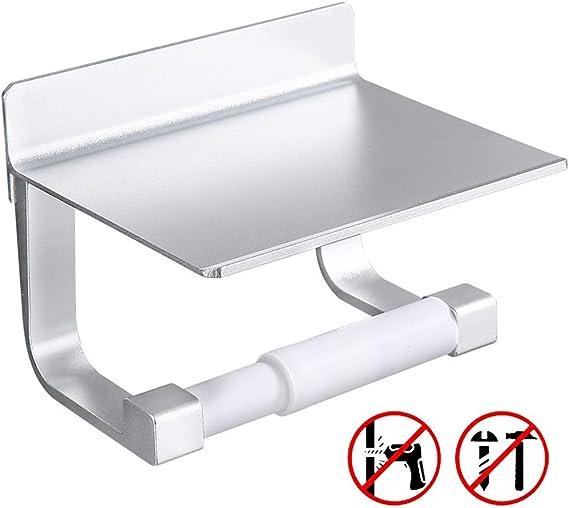Porte Papier Toilettes avec Etag/ère Auto-adh/ésif Installation Aluminium Mural Sans Percage Porte Rouleau Papier
