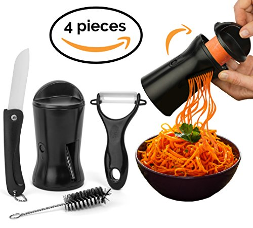 Vegetable Spaghetti / Noodle Maker Set. Includes Ceramic Peeler, Knife and Cleaning Brush. 2 Cutter Sizes. Designed to Spiralizer your vegetables in to spiral veggie pasta. (Fun Kitchen Fruit Knife)