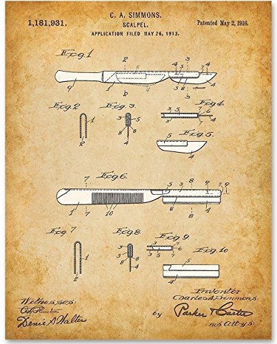 Scalpel - 11x14 Unframed Patent Print - Great Gift for Doctors or Medical - Student Stores Discount Uk