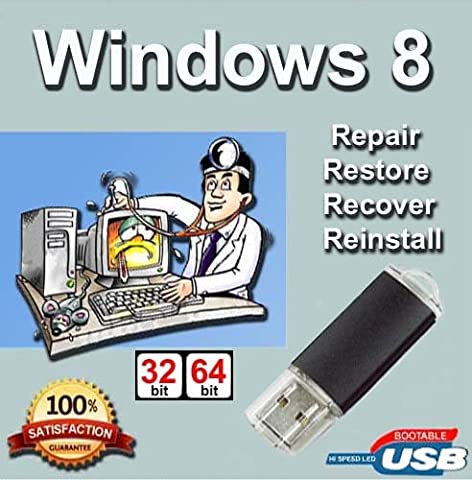 Windows 8 64-Bit Install   Boot   Recovery   Restore USB Flash Drive Disk Perfect for Install or Reinstall of Windows