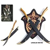 """S0164 Movie Lord of the Rings Legolas Elf Pole Swords w/ Plaque & Scabbards 22"""""""