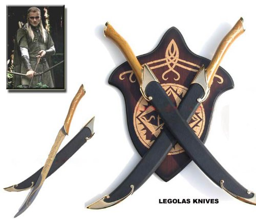 S0164 MOVIE LORD OF THE RINGS LEGOLAS ELF POLE SWORDS W/ PLAQUE & SCABBARDS -