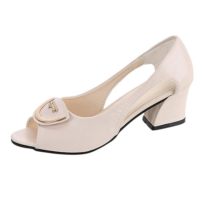 2d91edb048c59 Amazon.com: Fainosmny Womens Shoes Square Heel Sandals Slip On Work ...