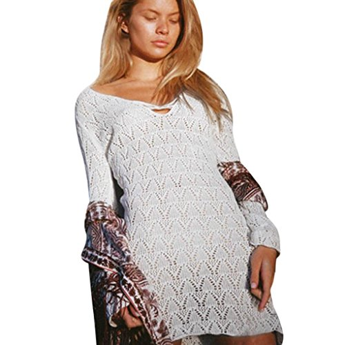 Waymine Bikini Cover up Pure Manual Crochet Knit Hollow-Out Beach Sunscreen Dress(Black,Orange,White) 106 Manual Screen