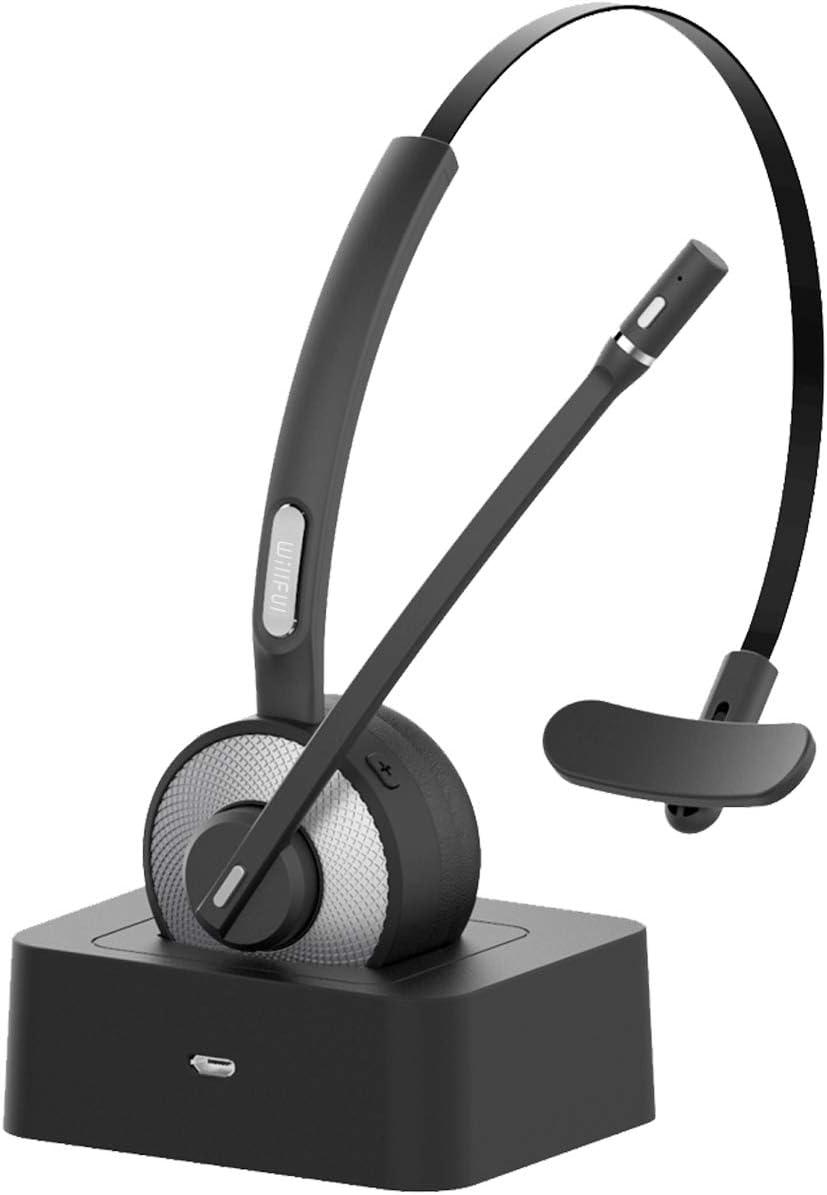 Willful Auriculares con Micrófonos,Auricular Bluetooth Cascos PC con Estación de Carga Cancelación de Ruido, Compatible con PC, iPad, Teléfono Fijo, Skype, Oficina, Manos Libres para Teléfono Fijo