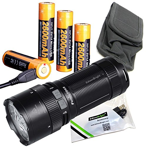 FENIX FD65 3800 Lumen focus adjustable CREE LED Flashlight/searchlight, 4 X Fenix 18650 rechargeable batteries, ARE-C2 Plus smart battery charger with 2 X EdisonBright BBX3 battery carry cases bundle
