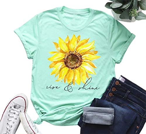 f5dee2f677fb MYHALF Women's Cute Funny Sunflower Graphic Print Tee Teen Girls Casual  Short Sleeve T Shirt Tops