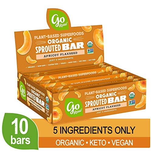 Go Raw Seed Bars, Apricot Flaxseed | Keto | Gluten Free Snacks | Vegan | Organic | Paleo | Superfood (10 Bars)