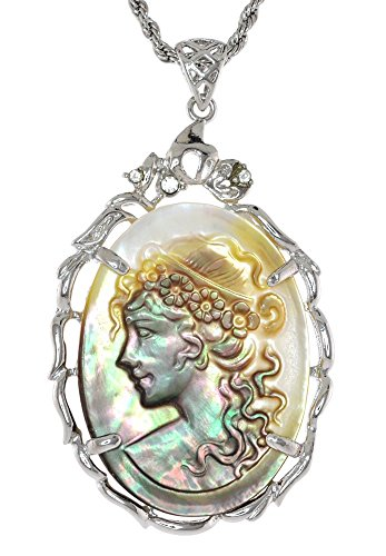 Black Lip Genuine Mother of Pearl Curved Lady Portrait Cameo Simulated Rhinestone Necklace