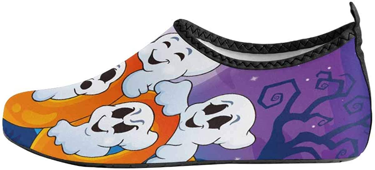 INTERESTPRINT Mens Water Shoes Funny Ghost Barefoot Swim Shoes Quick Dry Beach Pool Socks